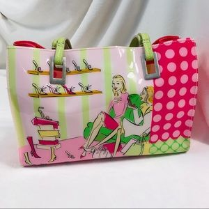 PURSE Shoulder Bag Tote Pink Green Vinyl
